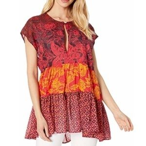 Free People Gotta Have You Red Cotton Tunic